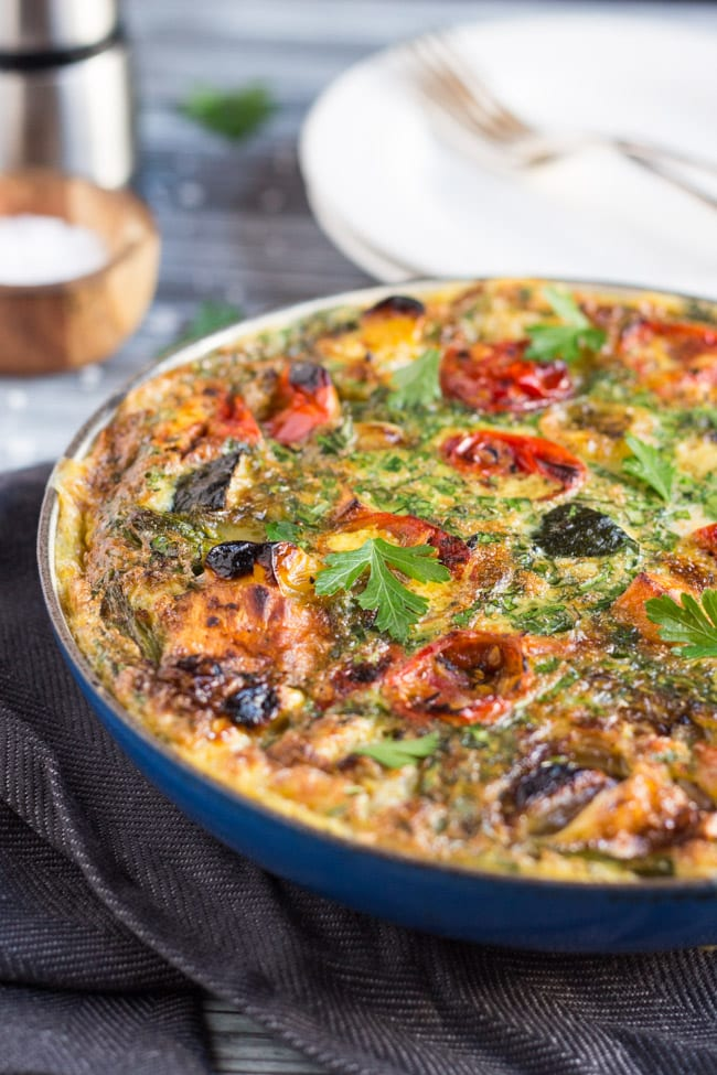 20 Minute Leftover Roast Vegetable Frittata. A super quick dinner for a busy weeknight.