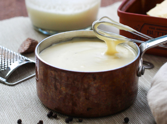 A Simple Bechamel {White} Sauce. This sauce ( also known as white sauce) is incredibly versatile and freezes brilliantly. | thecookspyjamas.com