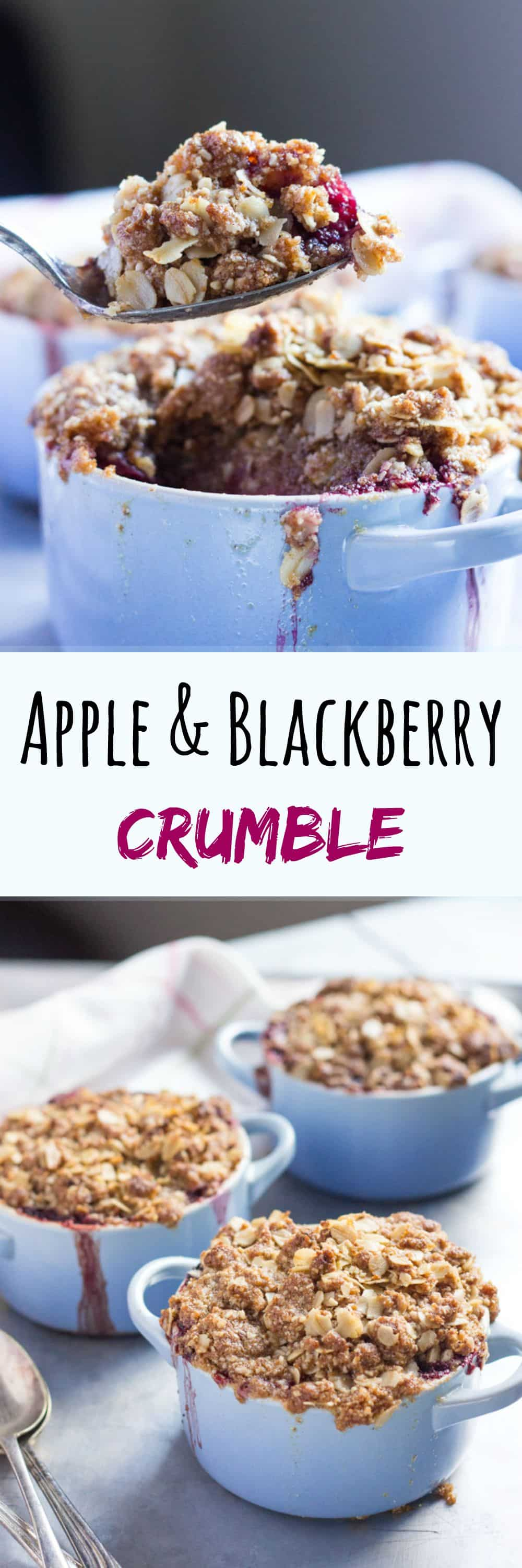 Apple and Blackberry Crumble. Prepared in advance and bake just in time for dessert.