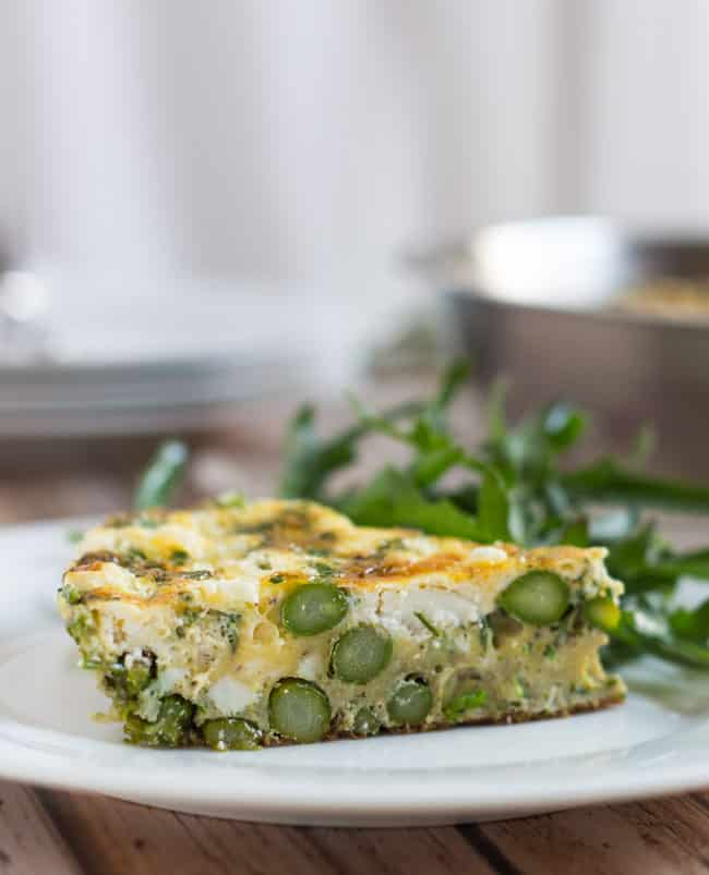 Asparagus & Goat Cheese Frittata.  Simple to make & delicious hot or cold.