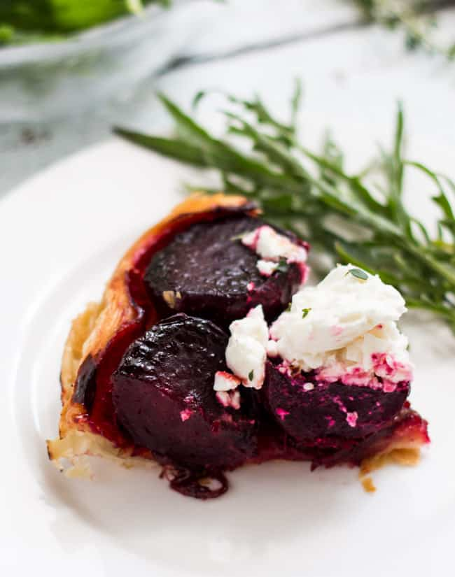Beetroot & Feta Tarte Tartin.  Most of the preparation for this simple vegetarian meal can be done in advance, so dinner can be pulled together quite quickly.