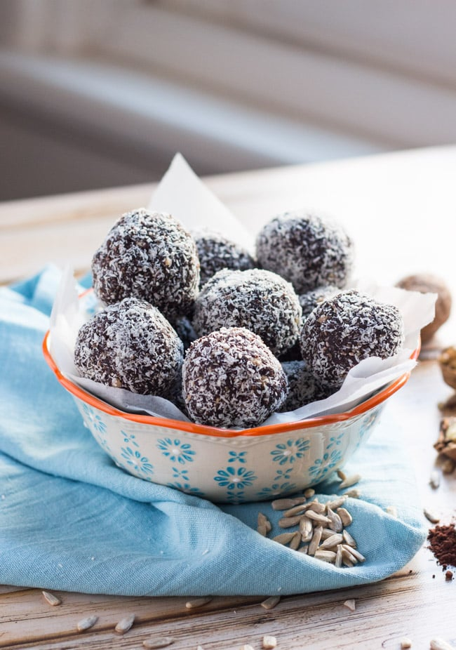 Chocolate Coconut Bliss Balls. A great use for coconut butter.