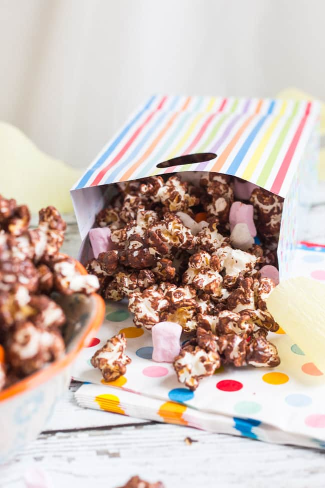 Chocolate Covered Popcorn. Ready in 15 minutes, and perfect for kids parties. A great use for leftover Easter chocolate.
