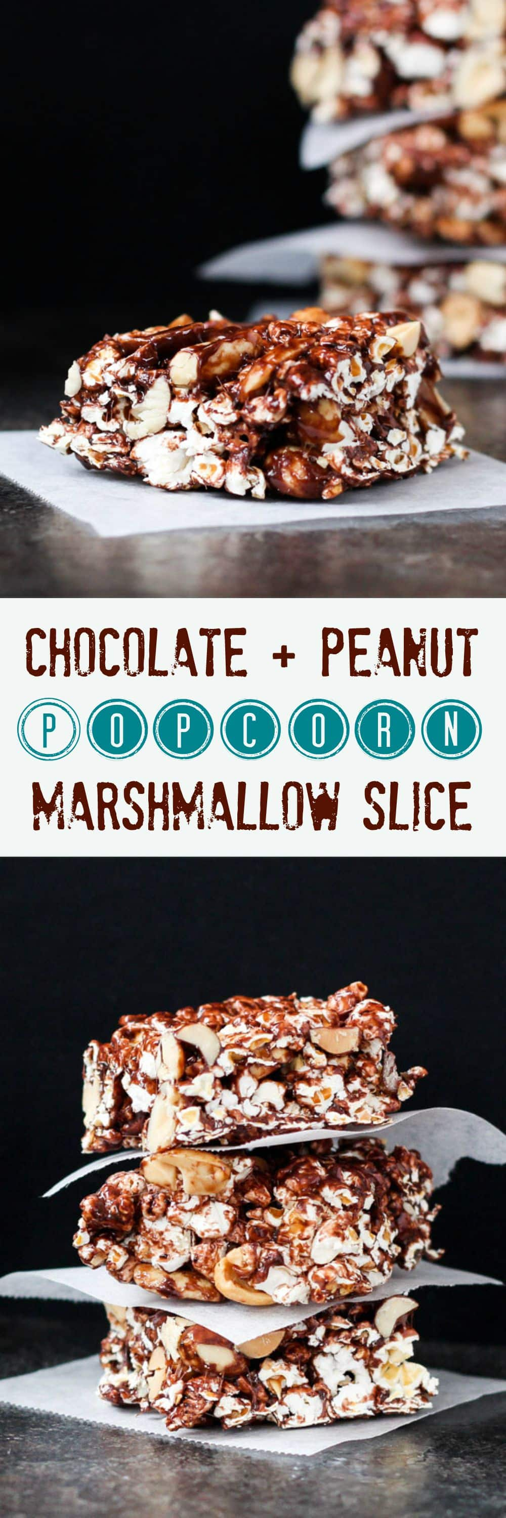 Chocolate & Peanut Popcorn Marshmallow Slice.  A quick & easy slice, full of wholegrain popcorn and homemade chocolate marshmallows.