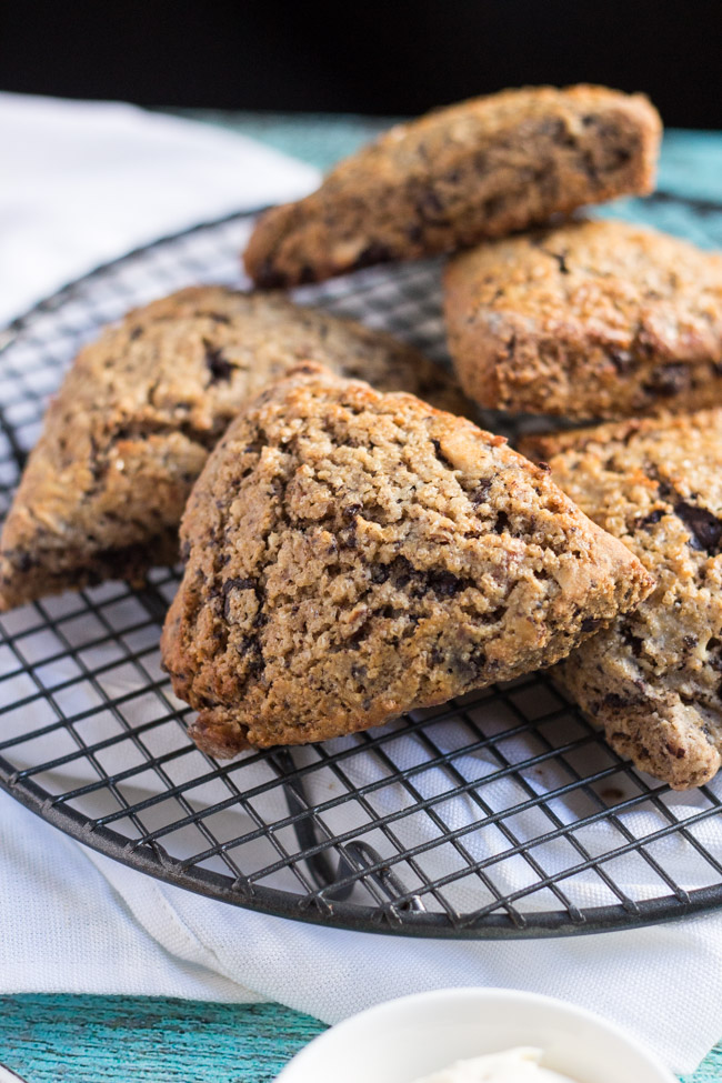Chocolate and Almond Scones.  Great to keep in the freezer for a quick dessert. | thecookspyjamas.com