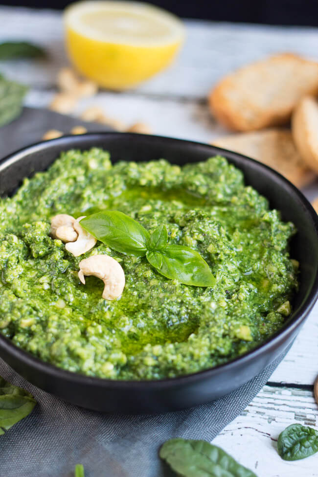 Chunky Spinach & Basil Dip. A super easy homemade dip that can be whipped up in just five minutes. You need never buy another dip again.