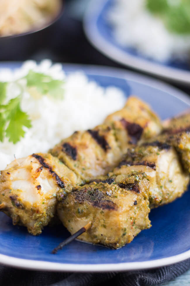 Cilantro & Turmeric Fish BBQ Skewers. Missing an ingredient for dinner? Rather than dash out to the shops, be brave and substitute in something you already have on hand. You may make a fantastic discovery, like I did with these skewers.