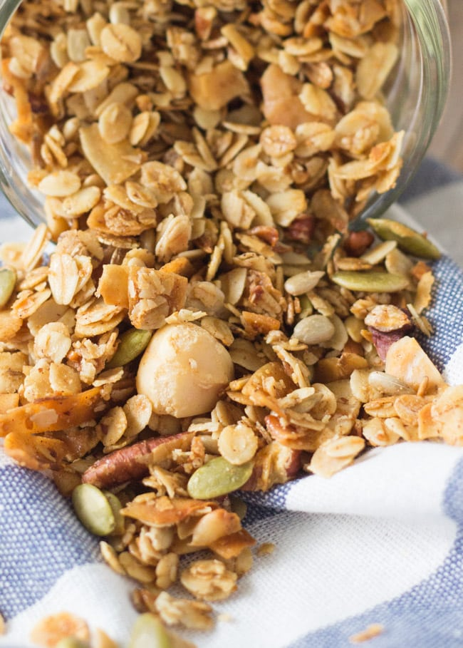 Coconut Macadamia Granola.  Packed full of wholegrains, nuts. seeds & coconut.  Perfect for a sustaining breakfast.