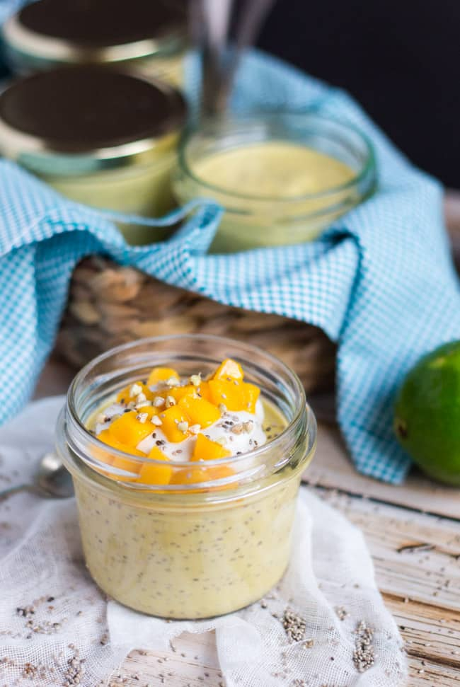 Coconut Mango Chia Pudding. Naturally sweetened with fresh mango and coconut milk, and spiked with a little lime juice, it is an ideal grab-n-go breakfast.