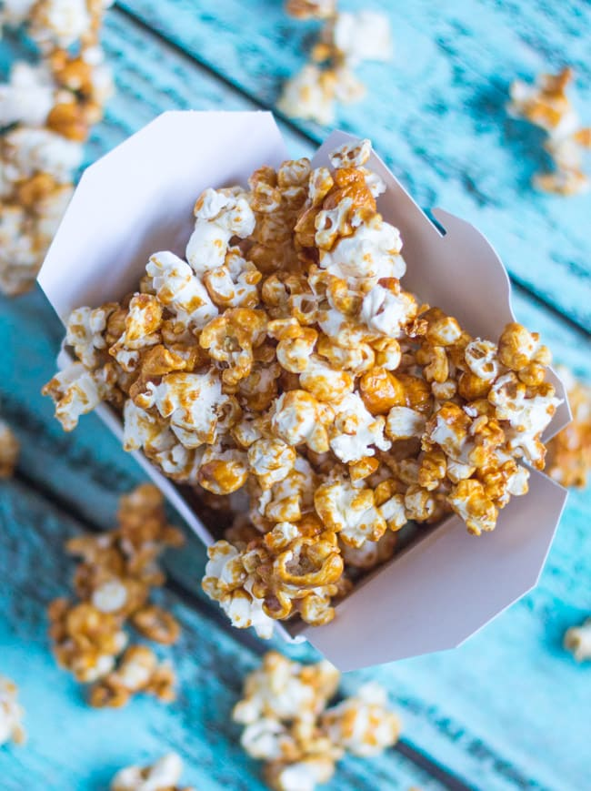 Coconut Maple Caramel Popcorn.  The caramel is made with unrefined sugars, yet is just as moreish as the real deal.
