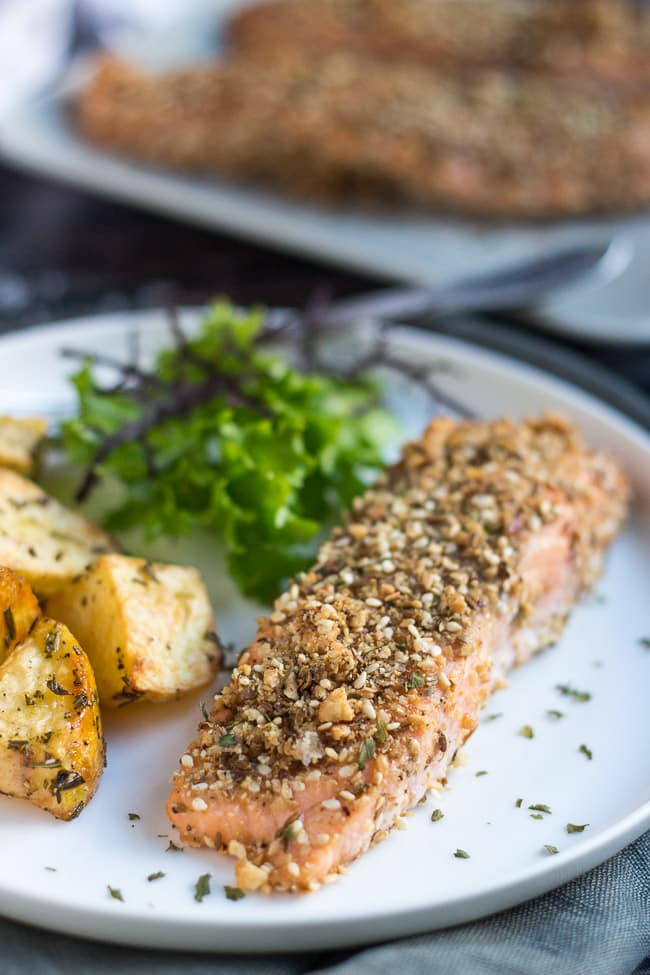 Dukkah-Spiced Baked Salmon Fillets. Simple enough for a quick mid-week meal, yet fancy enough to serve to company
