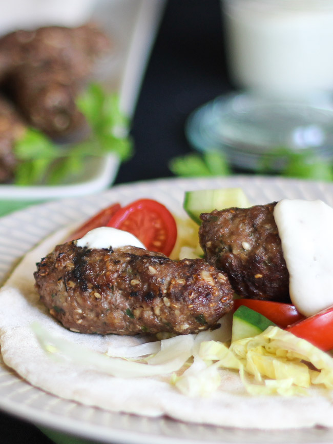 Easy Dukkah Spiced Lamb Koftas.  Wrap up with salad in flatbreads for a speedy dinner. | thecookspyjamas.com