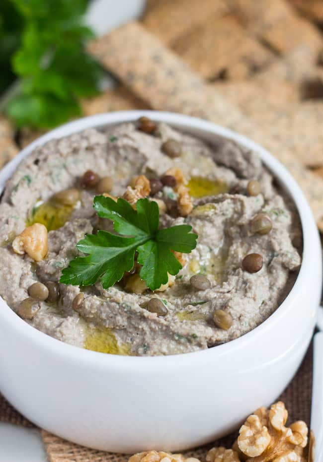Easy Walnut & Lentil Dip. Dairy-free, gluten free and vegan, this lentil dip makes a great snack served with piles of crackers or vegetable dippers.
