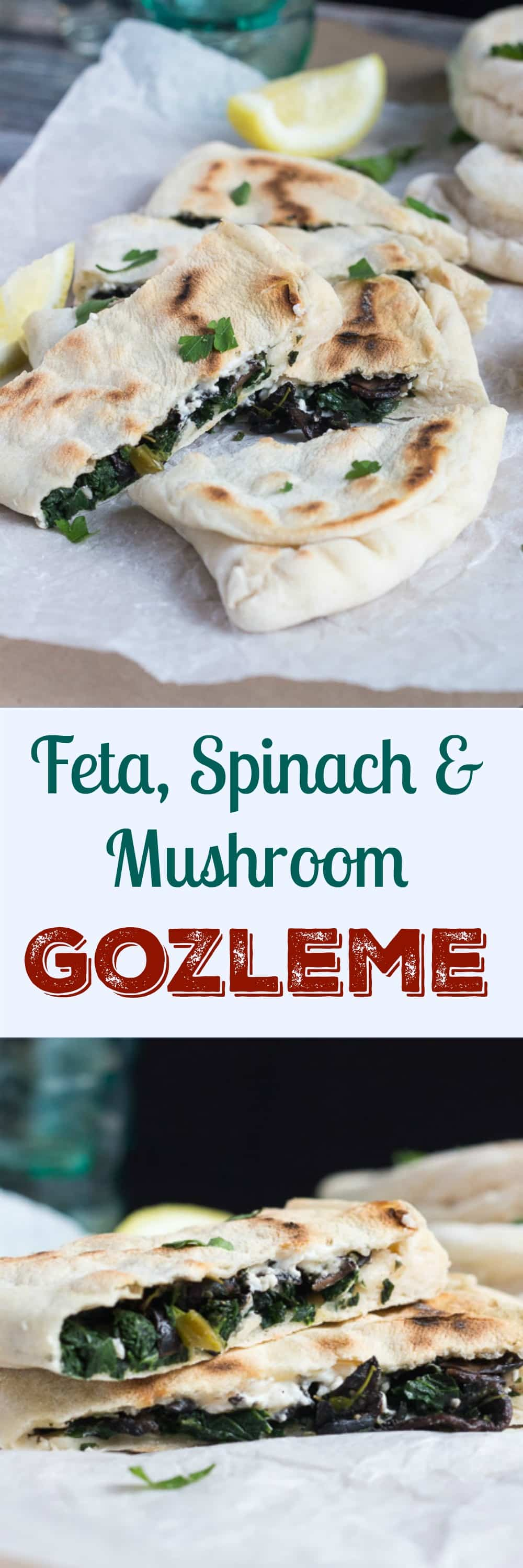 Feta, Spinach and Mushroom Gozleme. With a few basics on hand, these come together in five minutes and are perfect for a quick lunch or dinner.