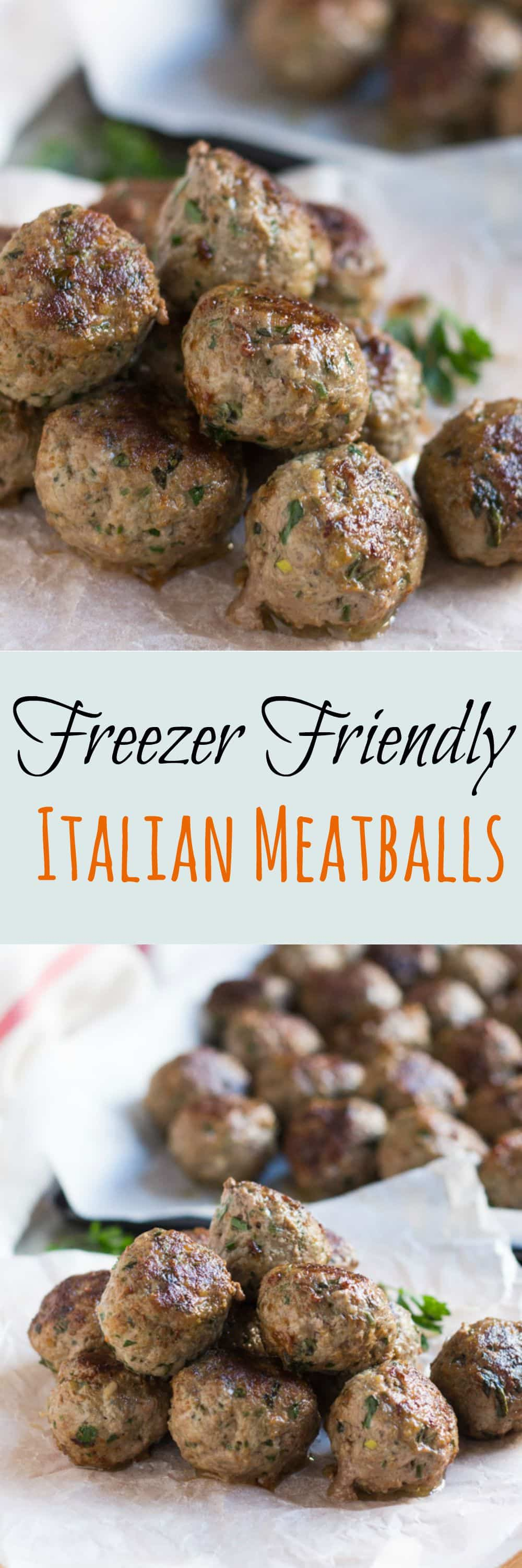 Freezer Friendly Italian Meatballs.  Handy to have in the freezer for a quick meal. Just simmer in tomato sauce whilst the pasta is cooking.