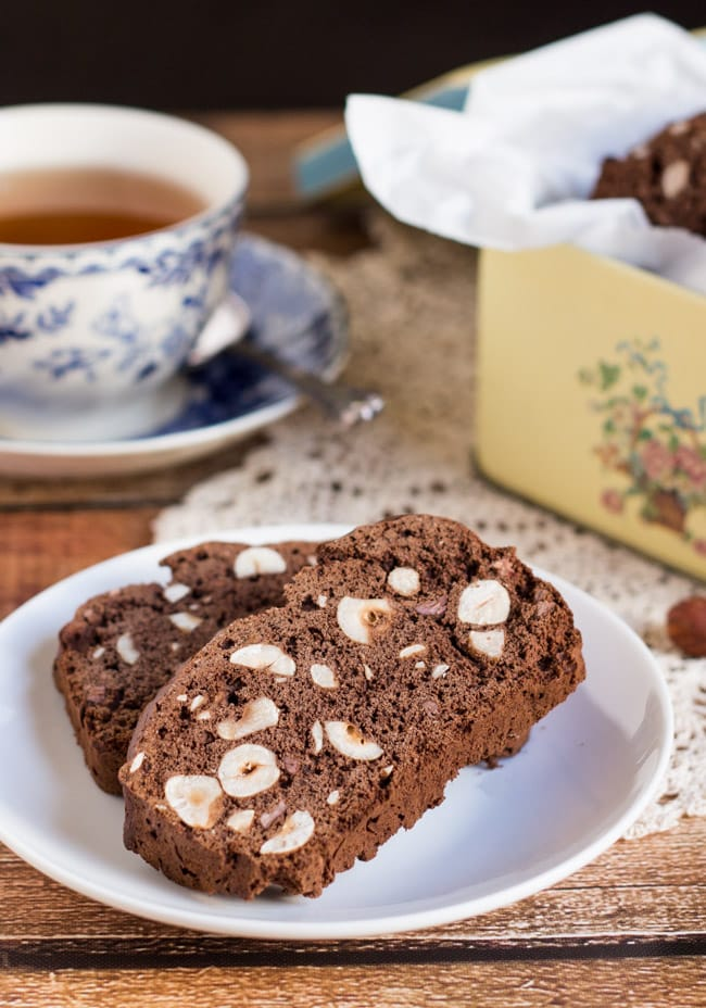 Easy Gluten Free Chocolate and Hazelnut Biscotti