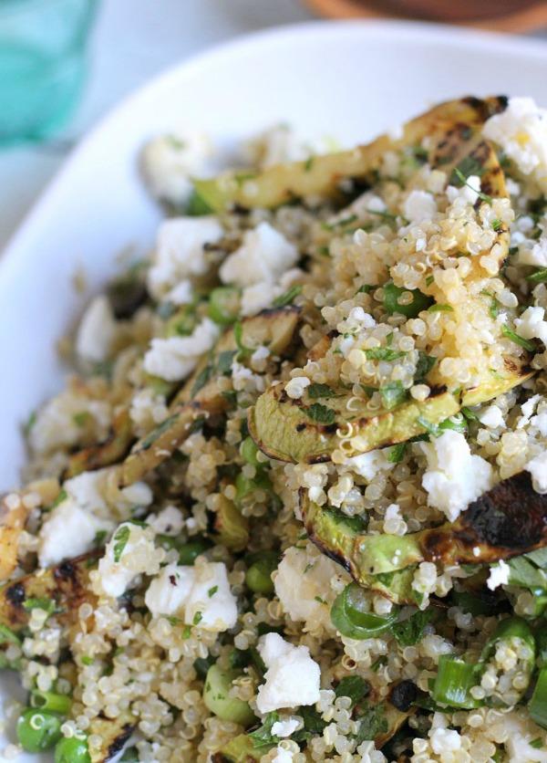Grilled Zucchini & Feta Quinoa Salad.  | thecookspyjamas.com