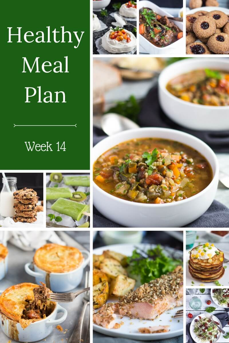 Healthy Weekly Meal Plan - Week 14.  Whip up some healthy dinners for the family with our latest meal plan.  Slow cooker pork posole, beef & broccoli, lemon butter salmon, or vegetable frittata.