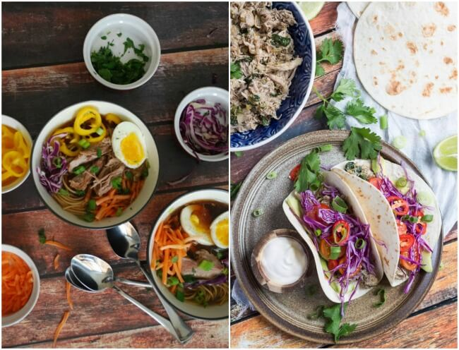 Healthy Meal Plan Week 10. Full of healthy meal ideas that won't break the bank.  Enjoy pozole & Shepherds Pie, with slow cooker ramen & chicken tacos for those busy weeknights.