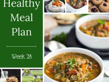 Healthy Weekly Meal Plan - Week 28. Whip up a week of quick family meals with a chicken burrito bowl, cherry tomato pasta or pesto zucchini noodles. Add a tropical sweet potato on the side.