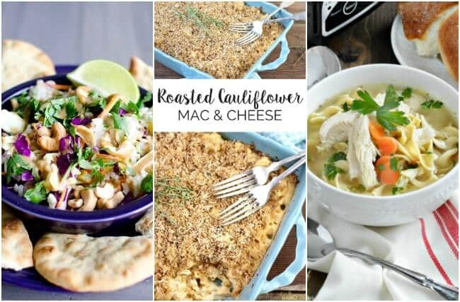 Healthy Weekly Meal Plan Week 1 2017.  Includes a simple rice salad, roasted cauliflower mac & cheese, slow cooker chicken noodle soup and tandoori chicken.
