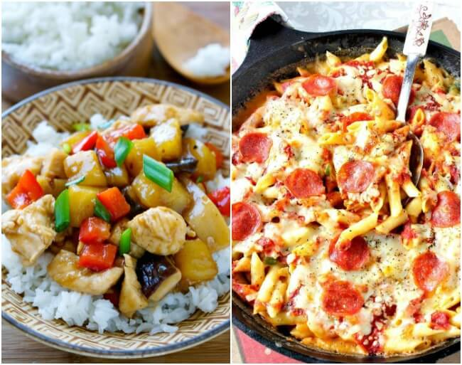 Healthy Weekly Meal Plan - Week 27. Whip up some fun dinner ideas this week; rustic vegetable pizza, apple cider chicken, or pepperoni pizza mac & cheese. Finish with cream cheese danishes.
