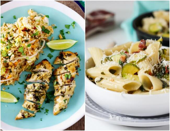 Healthy Weekly Meal Plan - Week 30. Grilled chicken, burgers and crispy fish tacos are great summer meal ideas for enjoying outdoors, & use up that summer crop in our zucchini pasta dish.