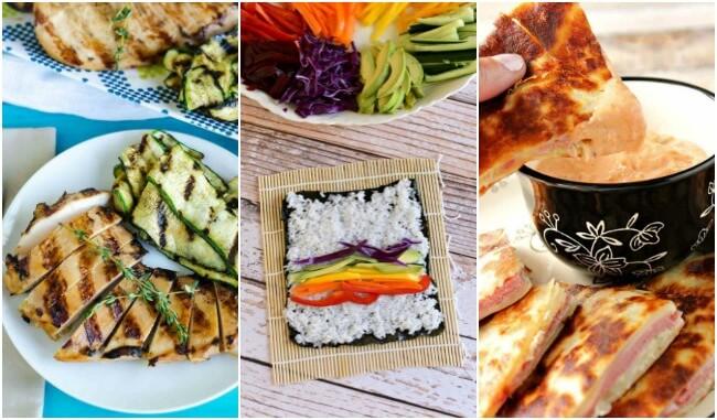 Healthy Weekly Meal Plan Week 33. An easy menu packed with healthy dinners.  Grilled teriyaki chicken, steak Marsala, peanut noodles & rainbow sushi. Then, frozen chocolate raspberry pie.
