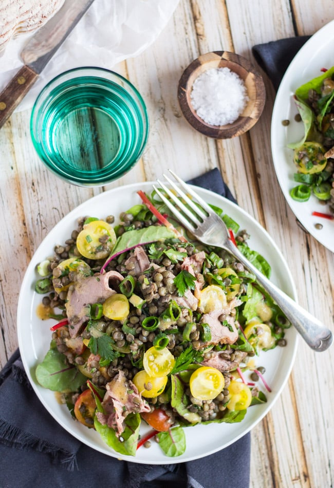 Lentil & Roast Beef Salad. Quick to throw together, good warm or cold, and great for lunchboxes.