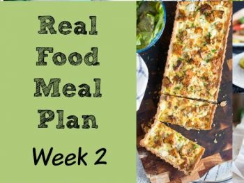Real Food Meal Plan Week 2. Full of salads to battle the heat.