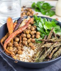 Moroccan Carrot Salad Bowl with Creamy Orange Dressing