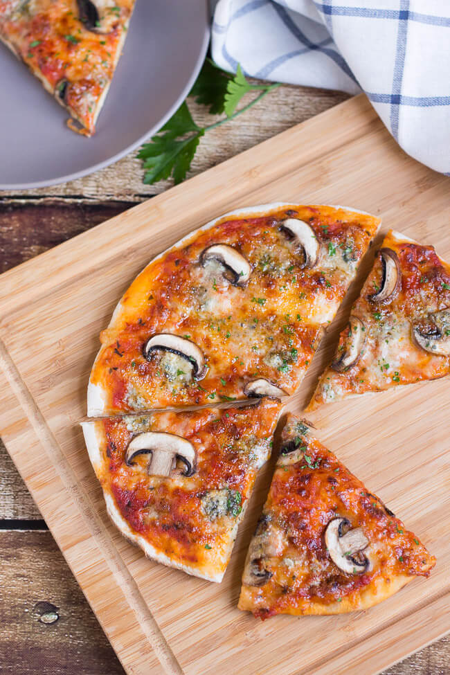 Mushroom & Blue Cheese Stovetop Pizza. Can't be bothered turning on the oven, but craving pizza? Try this recipe instead.