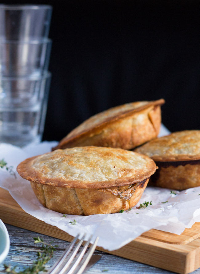 Mushroom and Ham Pies with Kamut & Spelt Crust.  A tasty pie filling that pairs well with the wholegrain crust. | thecookspyjamas.com