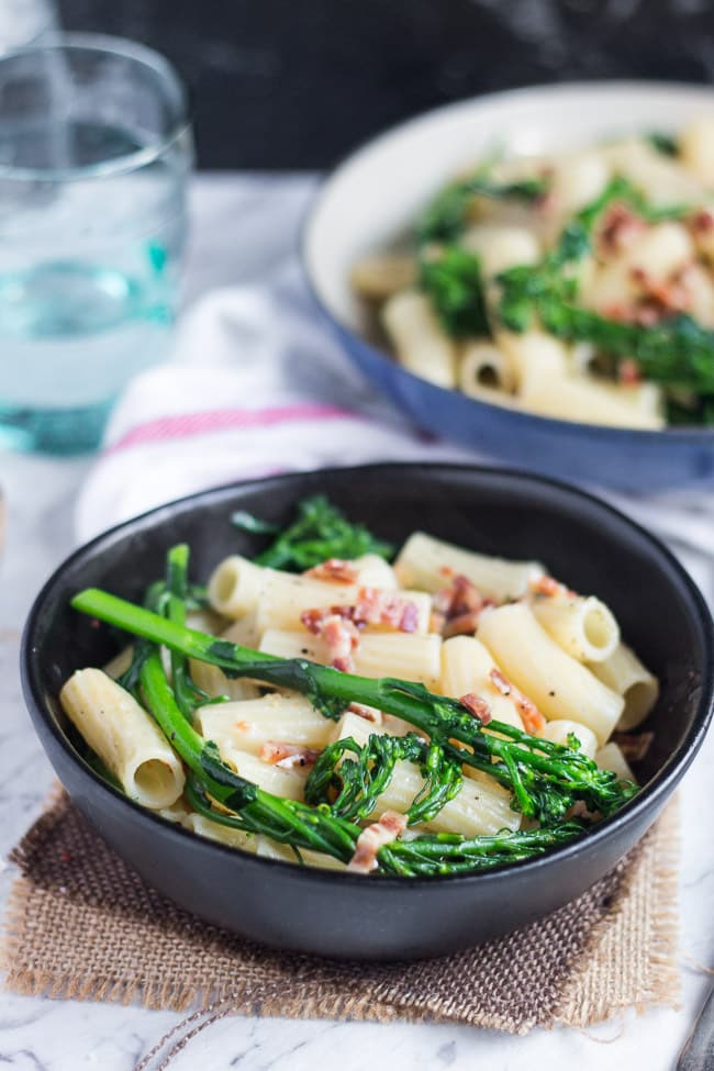 Pancetta and Broccoli Pasta. A tasty mid-week meal, easy to put together in under 30 minutes with a few storecupboard ingredients.