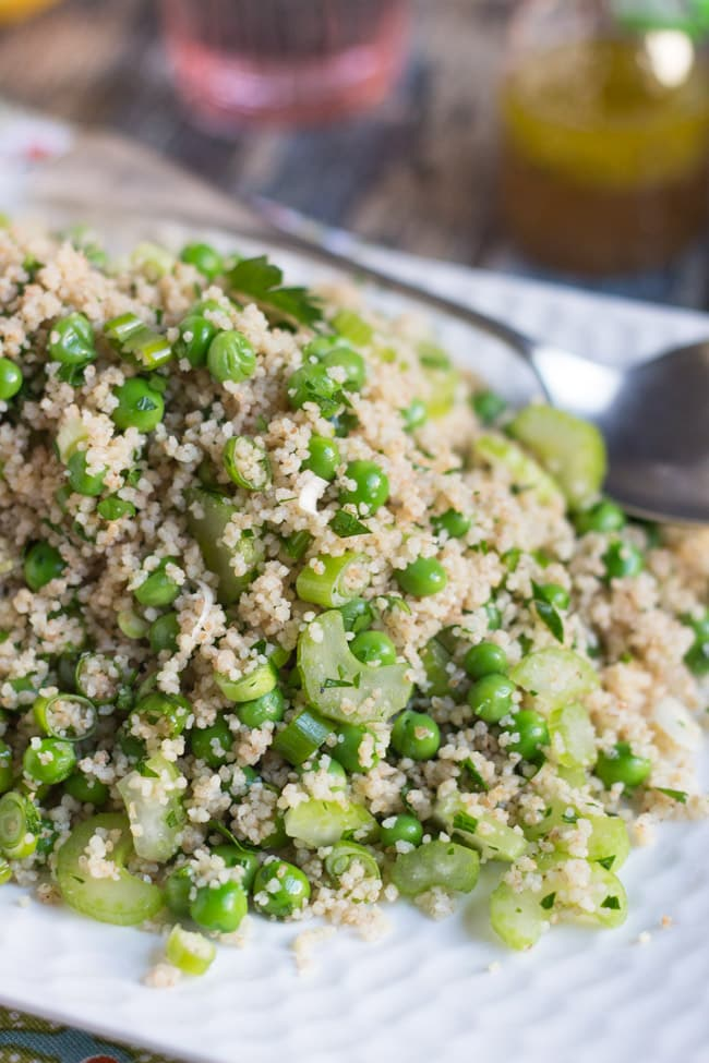 Pea & Celery Wholegrain Couscous.  A quick & easy side dish or lunch.