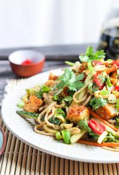 Nutty Soba Noodle Salad on a plate