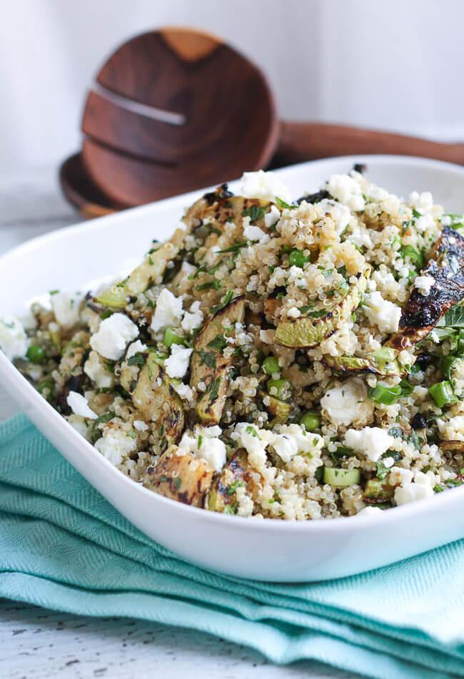 Plate of quinoa, feta & grilled zucchini salad