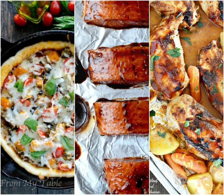 Real Food Meal Plan Week 26.  Includes easy vegetable pizza, chicken tray bakes, easy baked salmon and stuffed quinoa bell peppers.