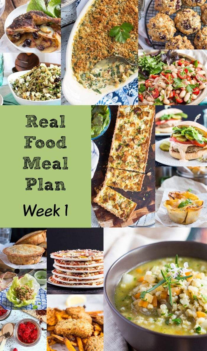 Real Food Meal Plan Week 1 2016 includes beef ravioli, smoked salmon & chicken adobo.