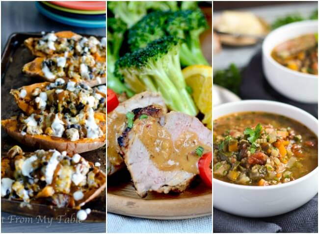 Real Food Meal Plan Week 28. Includes easy meals for the week before Christmas, such as simple pastas, a quick pork dish, & stuffed sweet potatoes.