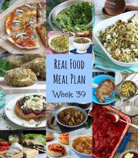 Real Food Meal Plan Week 39. Includes roast pork loin, lamb ragu, bulghar wheat pilaf & Thai spiced chicken wings.