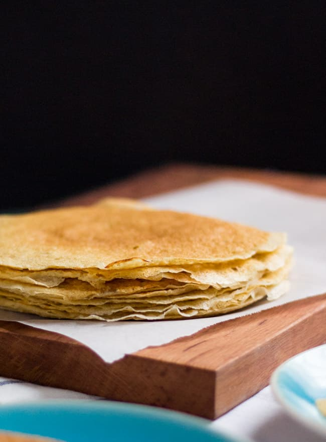 Really Simple (and Useful) Barley Crepes.  Handy to have in the freezer for emergency dinners or a speedy dessert.