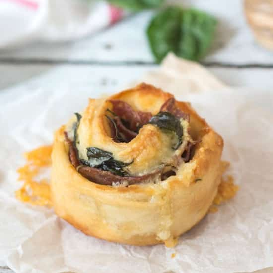 Salami, Spinach and Cheese Scrolls