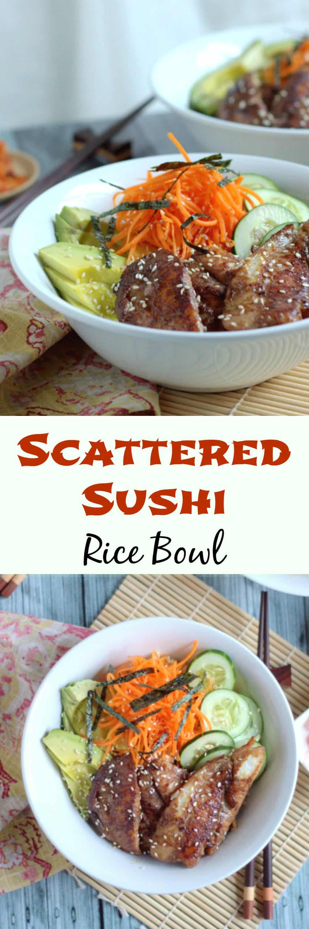 Scattered Sushi Rice Bowl. Fantastic for those times that you really can't be bothered rolling sushi.