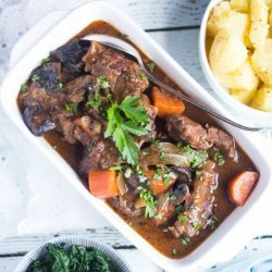 Slow Cooker Beef & Mushroom Stew. The perfect dinner for a cold winter's evening. Add a few simple sides for an easy meal without fuss.
