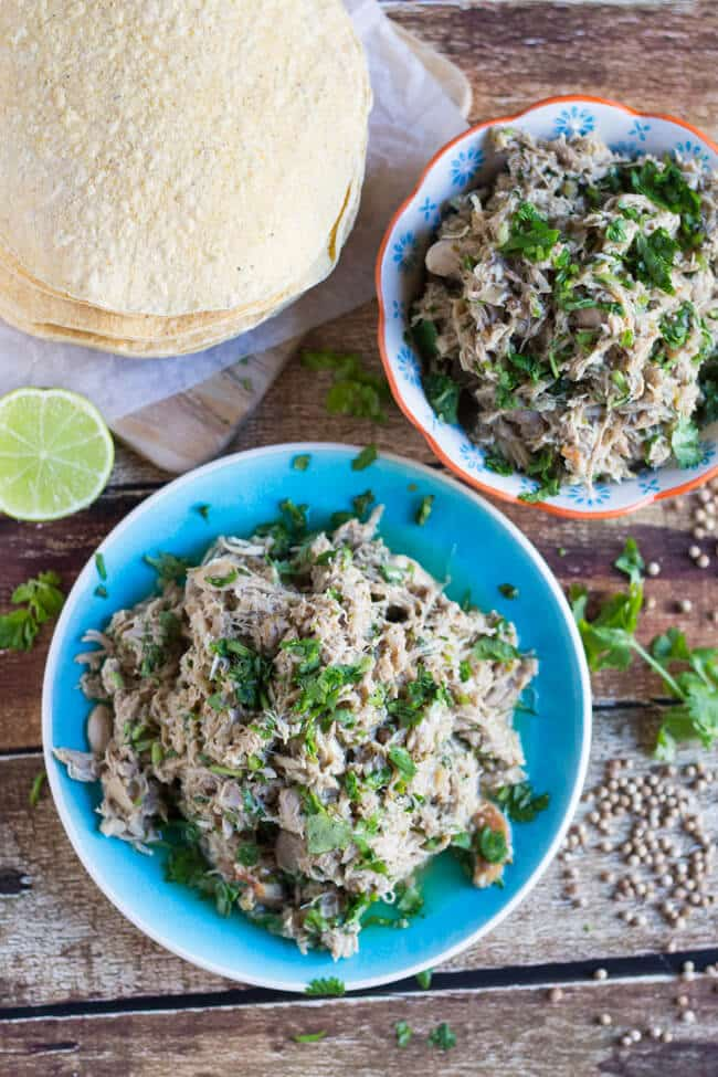 Slow Cooker Coriander Lime Shredded Chicken. Handy to have in the freezer for a quick meal.