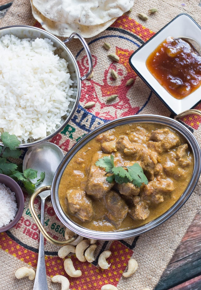 Slow Cooker Lamb Korma Curry.  A creamy, yet dairy free, freezer-friendly curry.