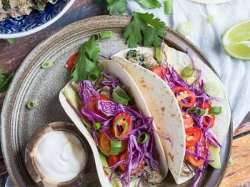 Slow Cooker Lime Cilantro Chicken Tacos. Dinner in under 15 minutes.