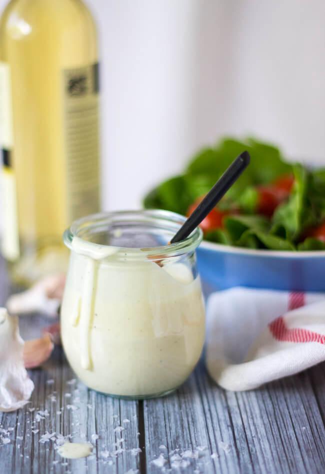 Side shot of sour cream salad dressing