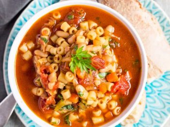 Speedy Minestrone Soup is ready in 30 minutes, and freezes well. This minestrone soup also is easy to reheat, so is a quick meal to make in advance.